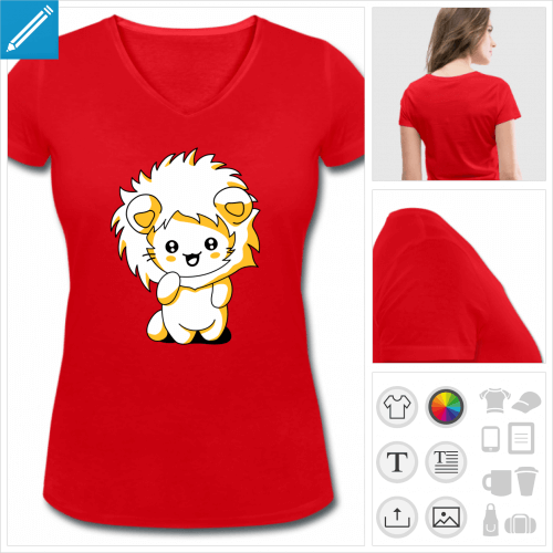t-shirt rouge chaton kawaii à personnaliser et imprimer en ligne