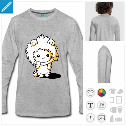 t-shirt homme chaton kawaii à créer en ligne
