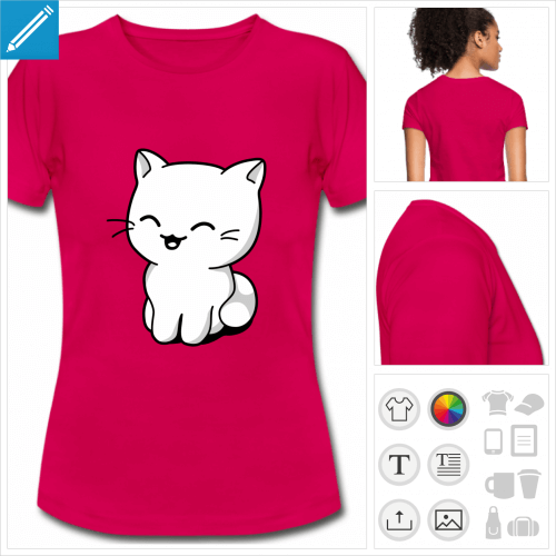 tee-shirt manches courtes chaton personnalisable