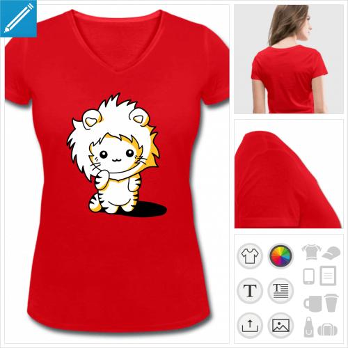 t-shirt rouge chat à personnaliser en ligne