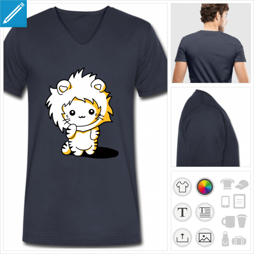 t-shirt bleu marine chaton kawaii à personnaliser, impression unique