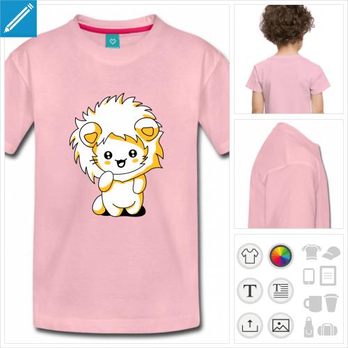 t-shirt rose chaton kawaii à personnaliser et imprimer en ligne