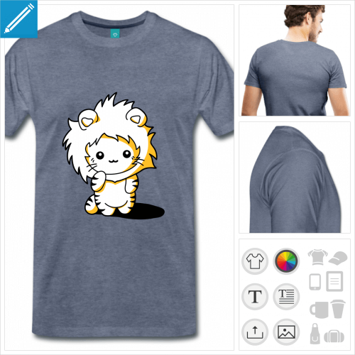 t-shirt premium chaton à personnaliser, impression unique