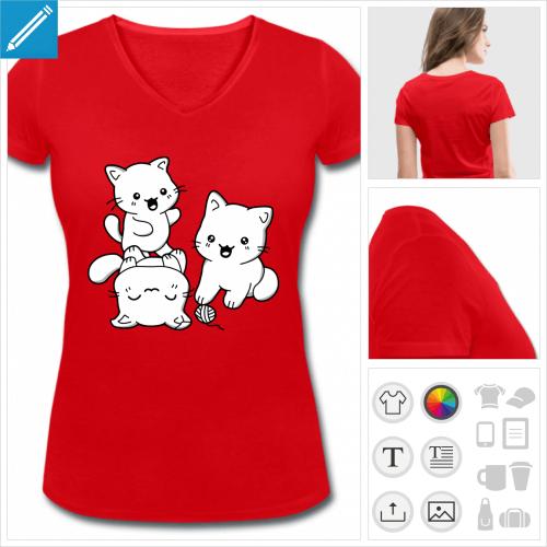 t-shirt rouge chatons kawaii à personnaliser et imprimer en ligne