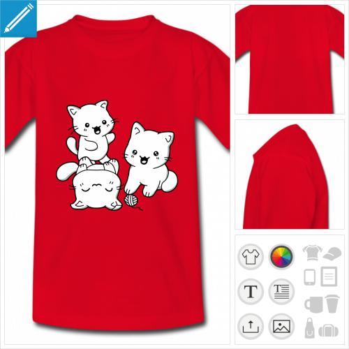 t-shirt rouge chatons kawaii personnalisable