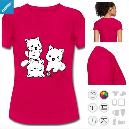 t-shirt femme chatons personnalisable, impression à l'unité