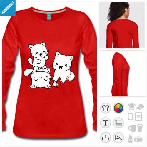 t-shirt rouge chatons trio à personnaliser