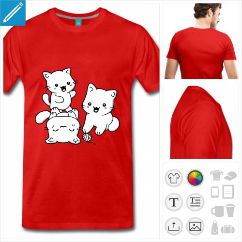 t-shirt rouge chatons trio à imprimer en ligne