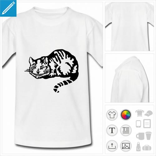 t-shirt simple cheshire cat à personnaliser