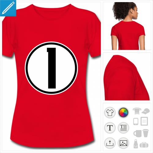 t-shirt femme Numéro 1 à imprimer en ligne