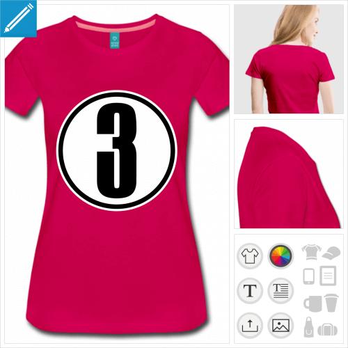 t-shirt Chiffre 3 à personnaliser, impression unique
