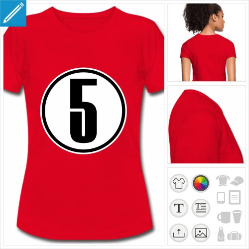 t-shirt basique Chiffre 5 personnalisable, impression à l'unité