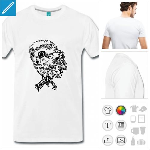 T-shirt chouette, bébé chouette à imprimer en ligne. Dessin HR.