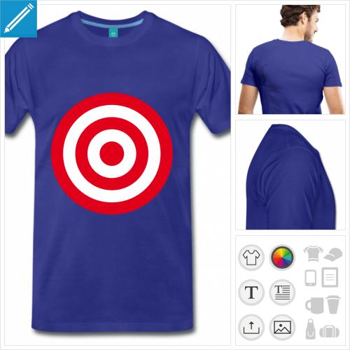 T-shirt cible formé de cercles concentriques plein à impriemr en ligne. Cible bicolore.