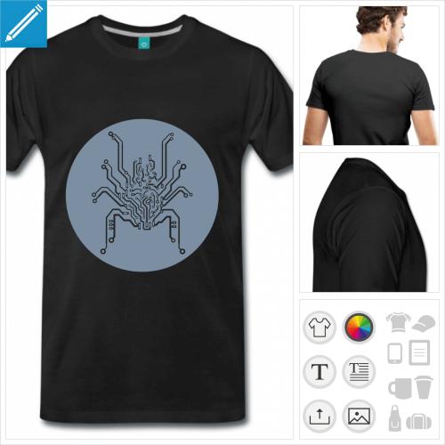 T-shirt circuit en forme d'araignée, circuit électrique à 8 pattes à imprimer en ligne.