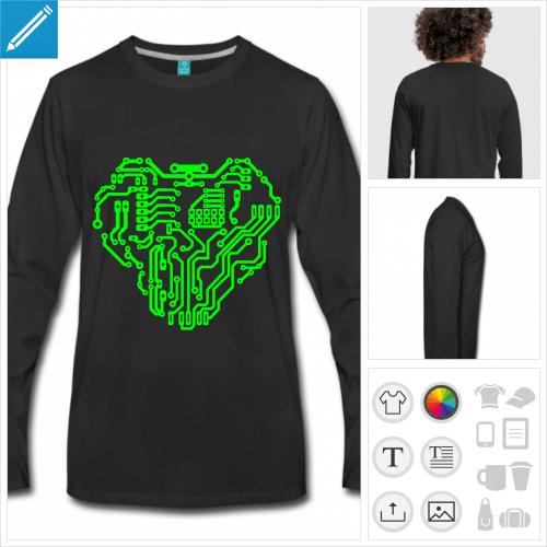 t-shirt manches longues nerd à créer en ligne