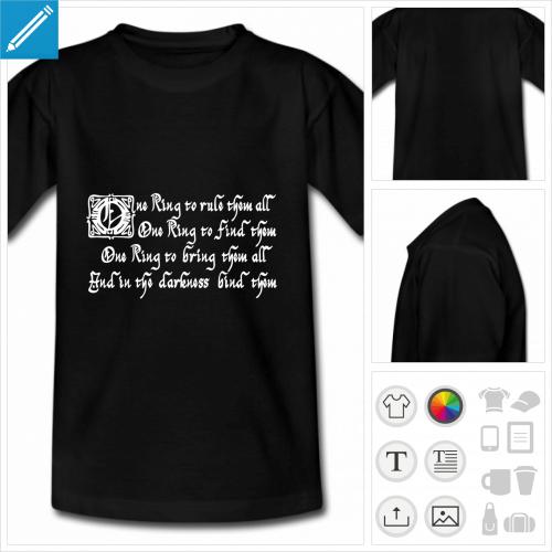 t-shirt simple citation Tolkien à personnaliser et imprimer en ligne