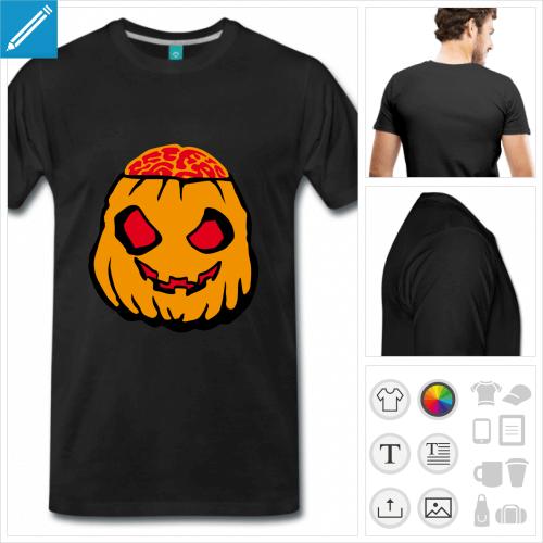 T-shirt citrouille à personnaliser pour Halloween, citrouille zombie et cervelle de pulpe.