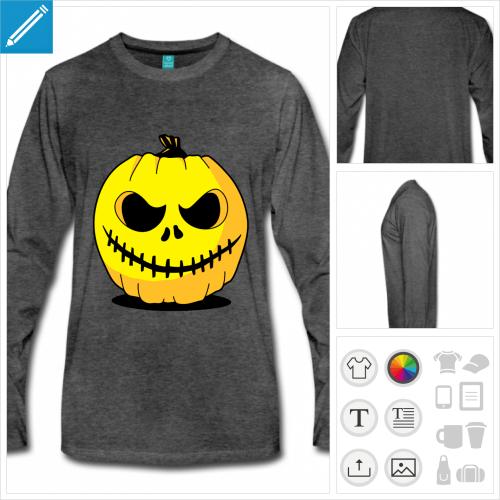 t-shirt manches longues Halloween personnalisable, impression à l'unité