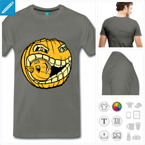 t-shirt asphalte citrouille à personnaliser, impression unique