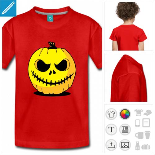 t-shirt à manches courtes citrouille lanterne à personnaliser, impression unique