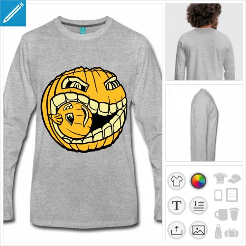 t-shirt gris citrouille Halloween à créer soi-même
