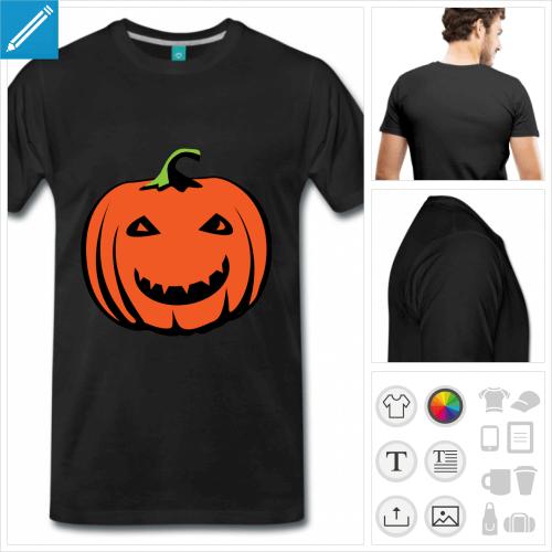 T-shirt citrouille Hallowen avec sourire rigolo et couleurs personnalisables.