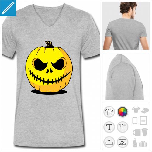 t-shirt simple citrouille Halloween à personnaliser