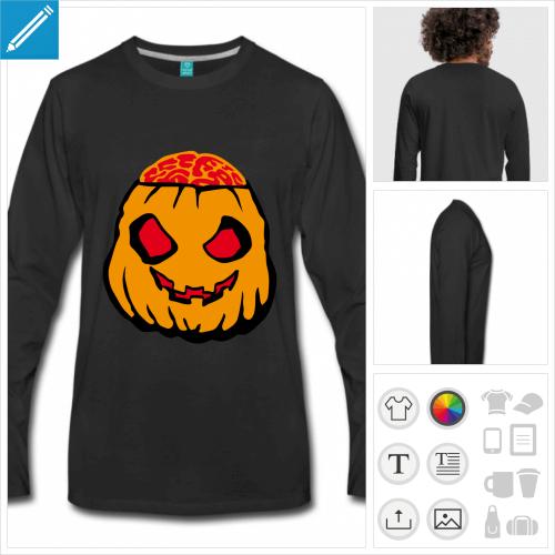 t-shirt noir citrouille halloween personnalisable, impression à l'unité