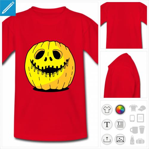 t-shirt rouge Halloween citrouille personnalisable, impression à l'unité