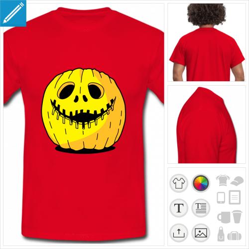 tee-shirt rouge citrouille à personnaliser et imprimer en ligne