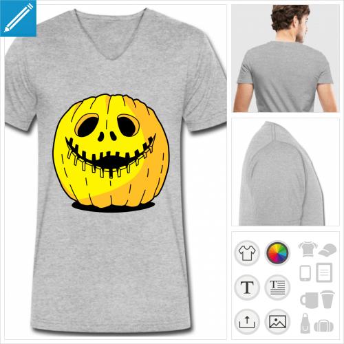 t-shirt gris citrouille à personnaliser, impression unique