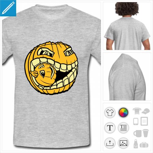 t-shirt pour homme citrouille personnalisable, impression à l'unité