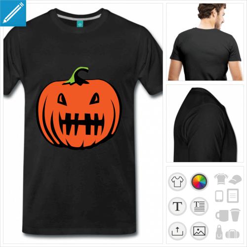 T-shirt citrouille rigolote aux couleurs personnalisables à imprimer en ligne.