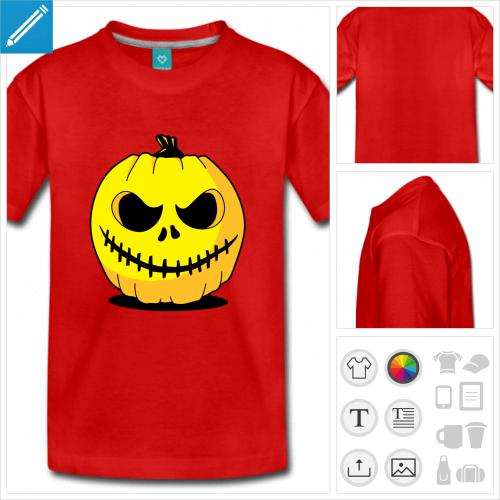 t-shirt pour adolescent citrouille Halloween à personnaliser en ligne