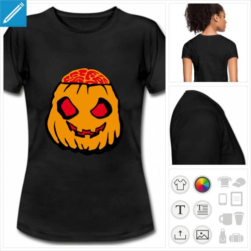 t-shirt noir basique citrouille halloween à personnaliser et imprimer en ligne