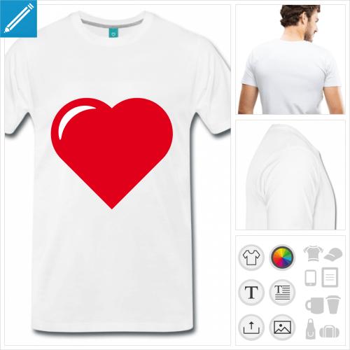 T-shirt cœur à personnaliser, créez votre t-shirt cœur I love. Coeur pointu à reflet blanc.