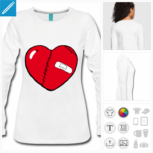 t-shirt coeur blessé personnalisable, impression à l'unité