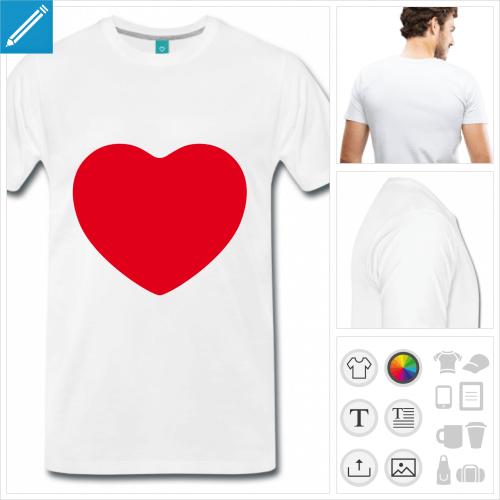 T-shirt cœur à personnaliser, ajouter votre texte et créer un t-shirt j'aime.
