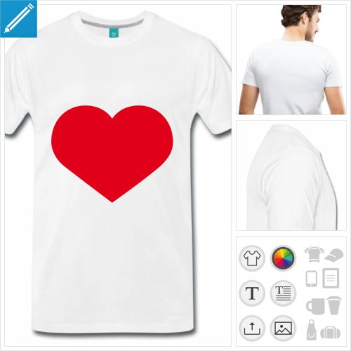 T-shirt coeur à personnaliser pour créer son t-shirt I love et coeur + légende. Ajoutez votre texte.