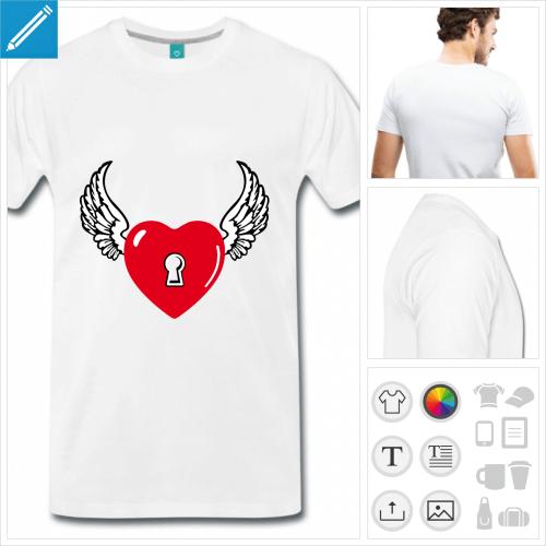 T-shirt cœur ailé avec serrure, motif cœur et amour à impriemr en ligne.