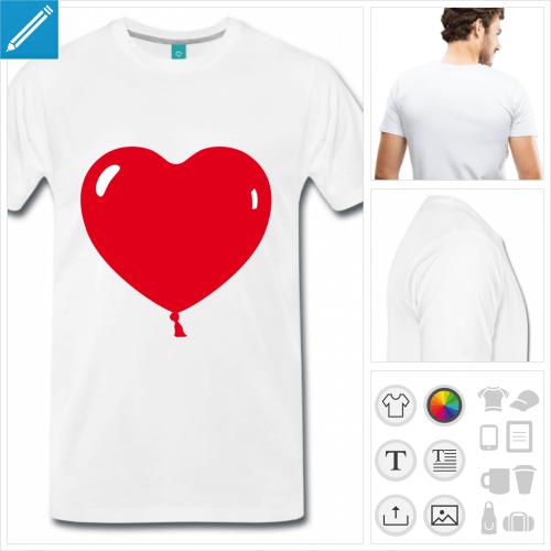 T-shirt coeur ballon, ballon arrondi en forme de coeur à personnaliser et imprimer. Choisissez la couleur.