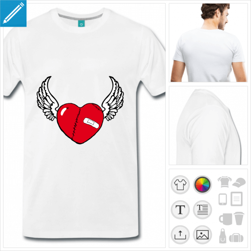 T-shirt cœur blessé à personnaliser en ligne. Coeur portant pansement et cicatrices, orné d'ailes.