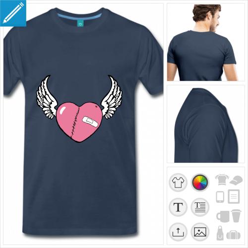 T-shirt cœur blessé ailé couturé de cicatrices aux couleurs personnalisables, à imprimer en ligne.