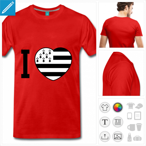 tee-shirt coeur breton personnalisable