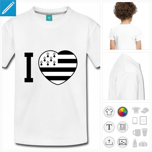 t-shirt blanc simple coeur Breizh à créer soi-même