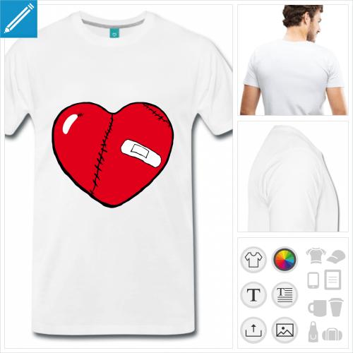 T-shirt coeur brisé à cicatrices à personnaliser et imprimer en ligne. Personnalisez les couleurs du coeur.