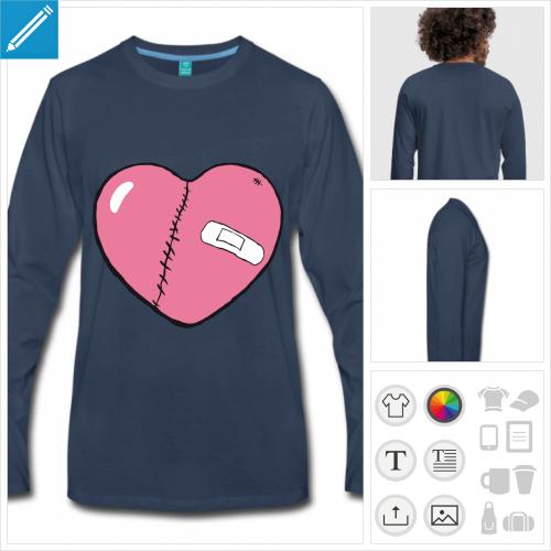 tee-shirt coeur personnalisable, impression à l'unité