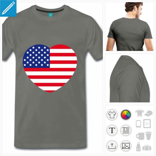 T-shirt cœur drapeau américain, à compléter avec son texte.