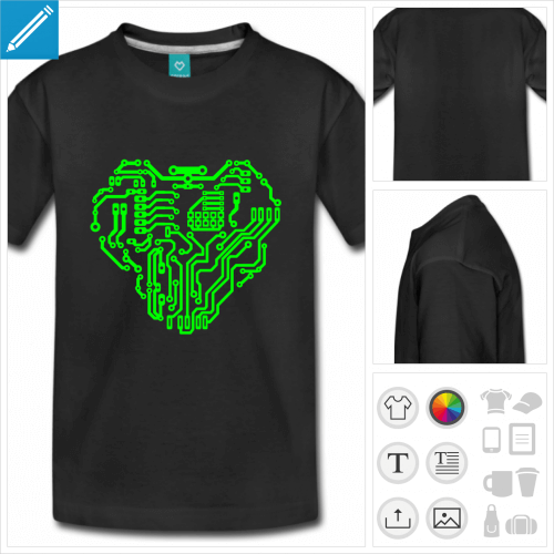 t-shirt noir nerd personnalisable